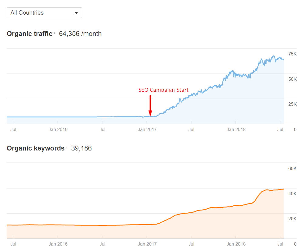 Ahrefs Traffic and Keywords Graph - Ecommerce Client