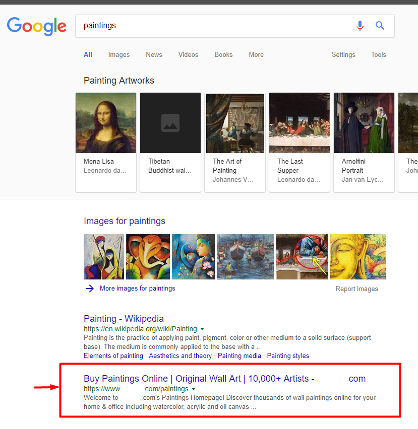 2nd position ranking in Google for paintings keyword